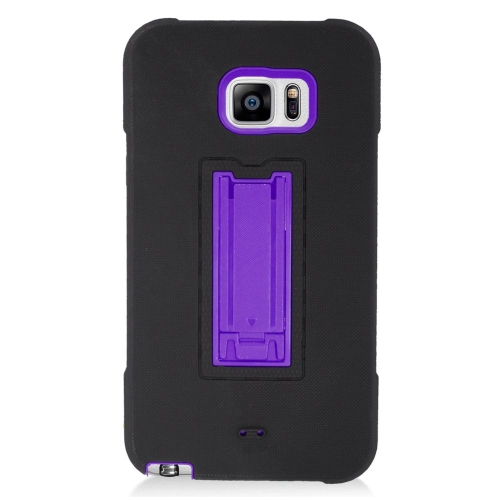 Insten Symbiosis Hard Dual Layer Silicone Case w/stand For Samsung Galaxy Note 5, Black/Purple