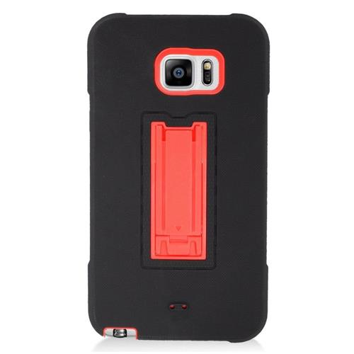 Insten Symbiosis HardRubber Coated Silicone Case w/stand For Samsung Galaxy Note 5, Black/Red