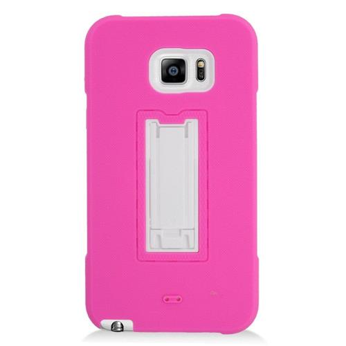 Insten Hard Hybrid Rubber Coated Silicone Case w/stand For Samsung Galaxy Note 5, Hot Pink/White