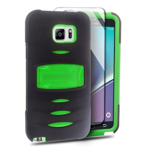 Insten Skin Hybrid Rubber Hard Cover Case w/stand/Installed For Samsung Galaxy Note 5, Black/Green