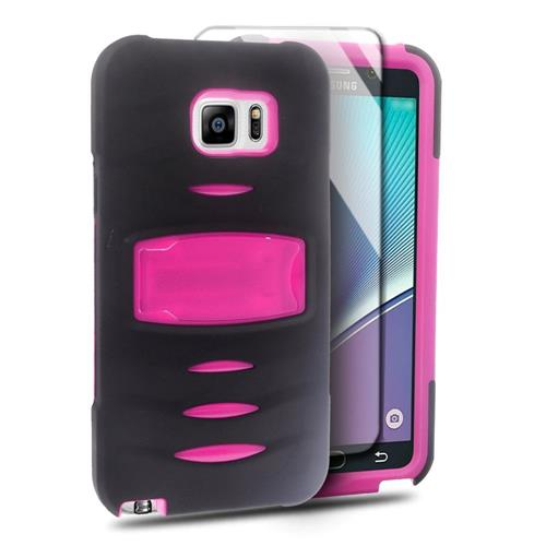 Insten Rubber Dual Layer Hard Case w/stand/Installed For Samsung Galaxy Note 5, Black/Hot Pink