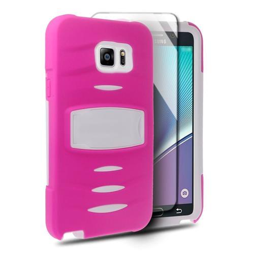 Insten Soft Hybrid Rubber Hard Case w/stand/Installed For Samsung Galaxy Note 5, Hot Pink/White