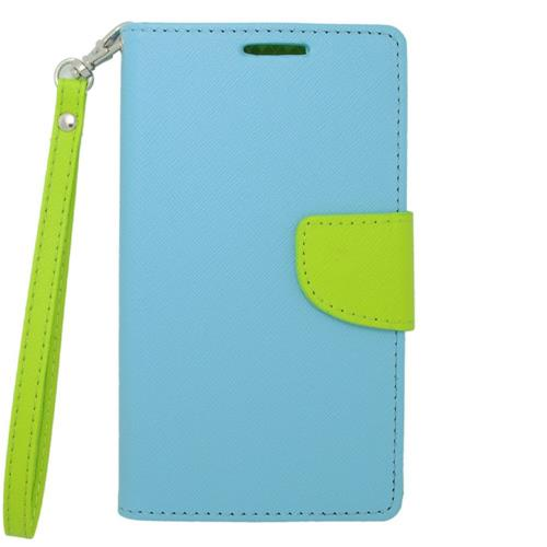 Insten Flip Leather Case Lanyard w/stand/card holder/Photo Display For LG G3, Light Blue/Green