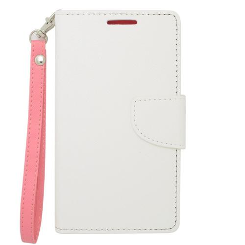 Insten Folio Leather Fabric Case Lanyard w/stand/card holder/Photo Display For LG G3, White/Pink