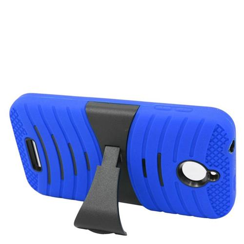 Insten Wave Hybrid Stand Rubber Silicone/PC Case For HTC Desire 510, Blue/Black