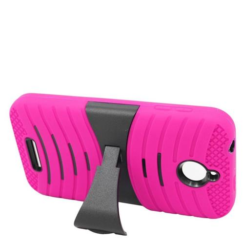 Insten Wave Hybrid Stand Rubber Silicone/PC Case For HTC Desire 510, Hot Pink/Black