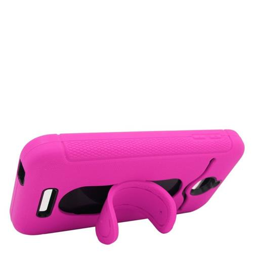 Insten Hybrid Stand Rubber Silicone/PC ID/Card Slot Case For HTC Desire 510, Hot Pink/Black