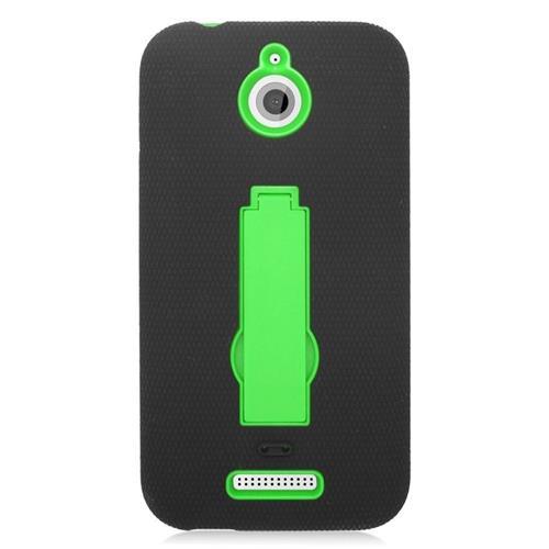 Insten Hybrid Stand Rubber Silicone/PC Case For HTC Desire 510, Black/Green