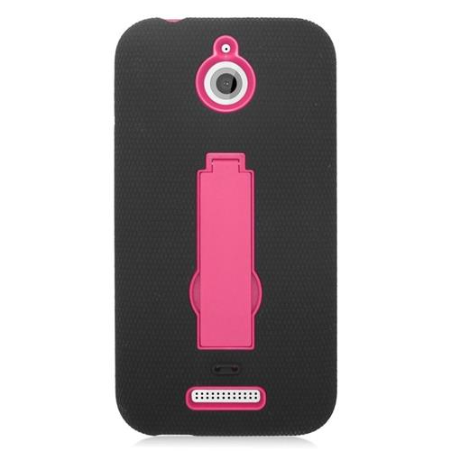 Insten Hybrid Stand Rubber Silicone/PC Case For HTC Desire 510, Black/Hot Pink