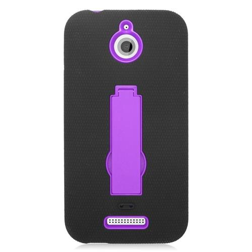 Insten Hybrid Stand Rubber Silicone/PC Case For HTC Desire 510, Black/Purple