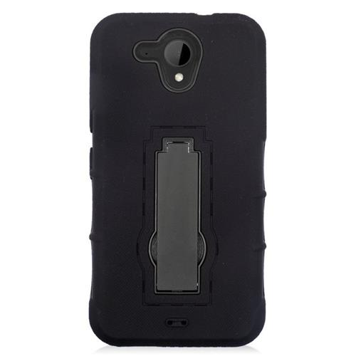 Insten Hybrid Stand Rubber Silicone/PC Case For HTC Desire 520, Black