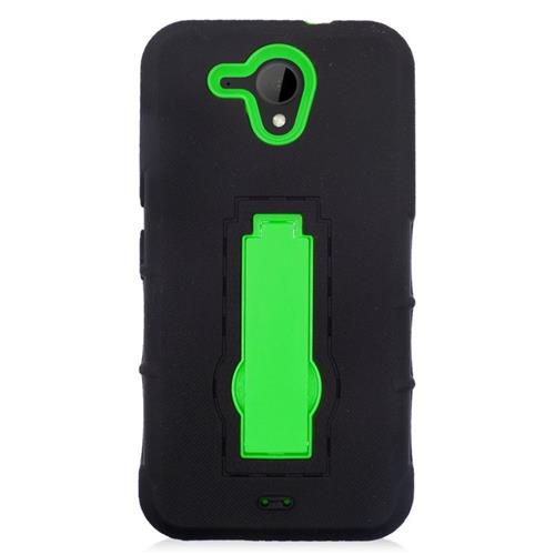 Insten Hybrid Stand Rubber Silicone/PC Case For HTC Desire 520, Black/Green