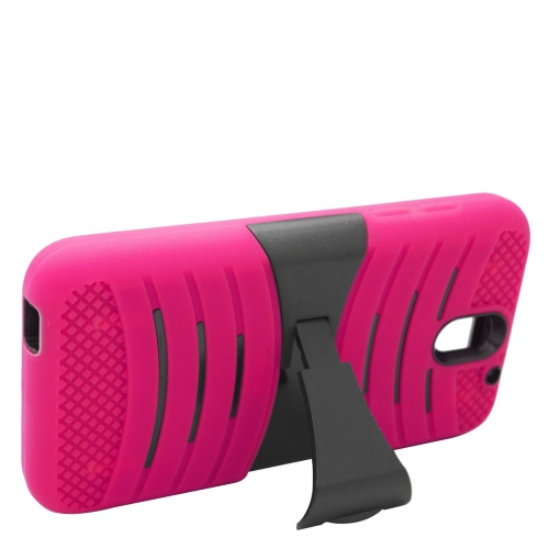 Insten Wave Hybrid Stand Rubber Silicone/PC Case For HTC Desire 610, Hot Pink/Black