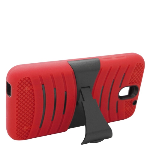 Insten Wave Hybrid Stand Rubber Silicone/PC Case For HTC Desire 610, Red/Black
