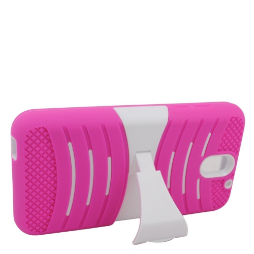 Insten Wave Hybrid Stand Rubber Silicone/PC Case For HTC Desire 610, Pink/White