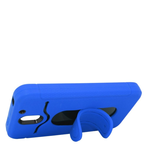 Insten Hybrid Stand Rubber Silicone/PC ID/Card Slot Case For HTC Desire 610, Blue/Black