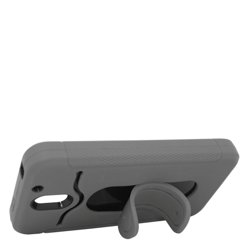 Insten Hybrid Stand Rubber Silicone/PC ID/Card Slot Case For HTC Desire 610, Grey/Black