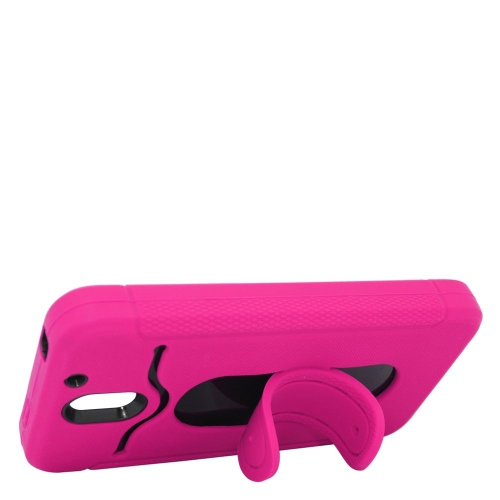 Insten Hybrid Stand Rubber Silicone/PC ID/Card Slot Case For HTC Desire 610, Hot Pink/Black