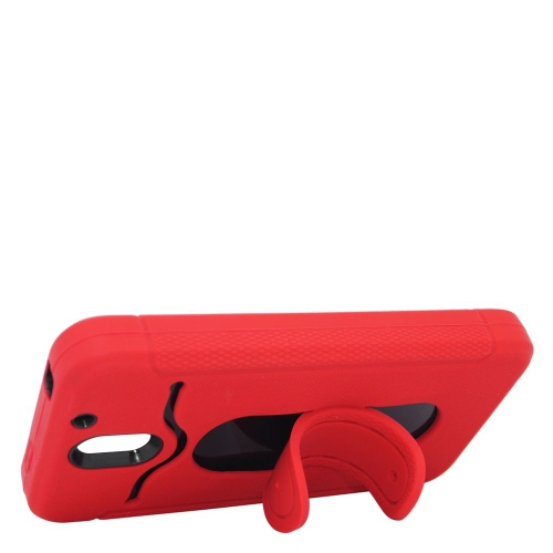 Insten Hybrid Stand Rubber Silicone/PC ID/Card Slot Case For HTC Desire 610, Red/Black