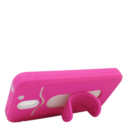 Insten Hybrid Stand Rubber Silicone/PC ID/Card Slot Case For HTC Desire 610, Pink/Black