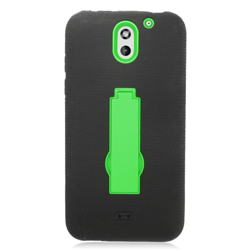 Insten Hybrid Stand Rubber Silicone/PC Case For HTC Desire 610, Black/Green