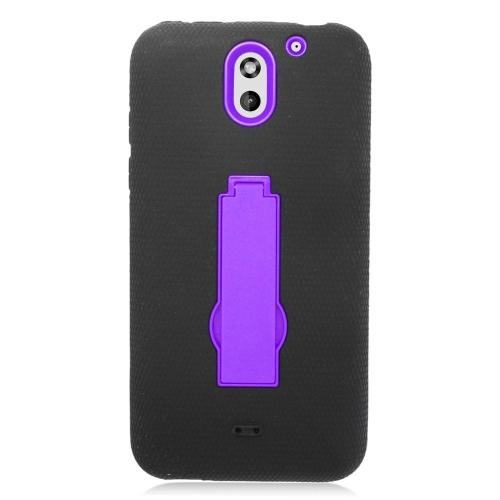 Insten Hybrid Stand Rubber Silicone/PC Case For HTC Desire 610, Black/Purple