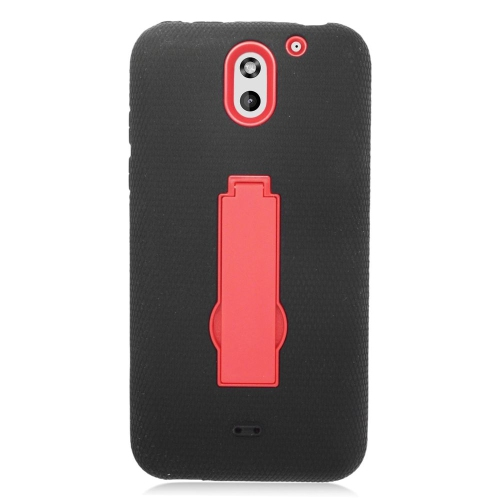 Insten Hybrid Stand Rubber Silicone/PC Case For HTC Desire 610, Black/Red