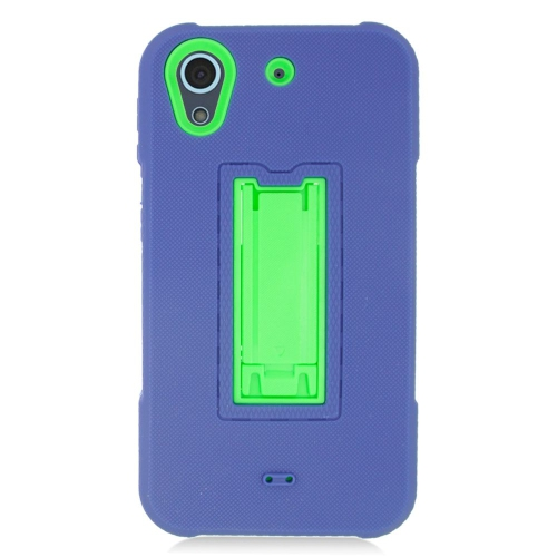 Insten Hybrid Stand Rubber Silicone/PC Case For HTC Desire 626, Blue/Green