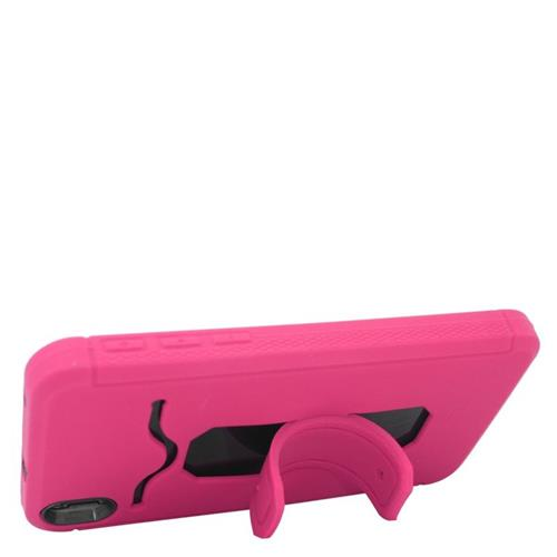 Insten Hybrid Stand Rubber Silicone/PC ID/Card Slot Case For HTC Desire 816, Hot Pink/Black