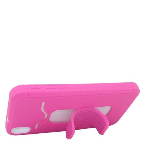 Insten Hybrid Stand Rubber Silicone/PC ID/Card Slot Case For HTC Desire 816, Pink/Black