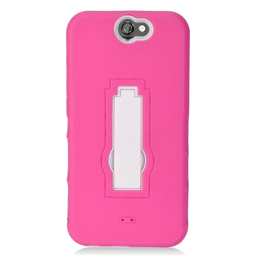 Insten Hybrid Stand Rubber Silicone/PC Case For HTC One A9, Pink/White