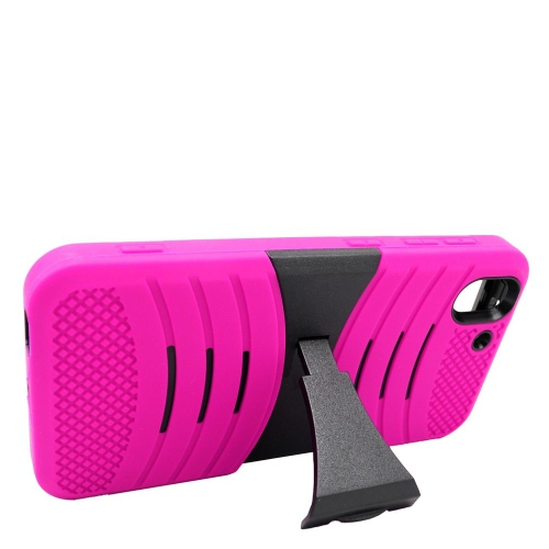 Insten Wave Hybrid Stand Rubber Silicone/PC Case For HTC Desire Eye, Hot Pink/Black