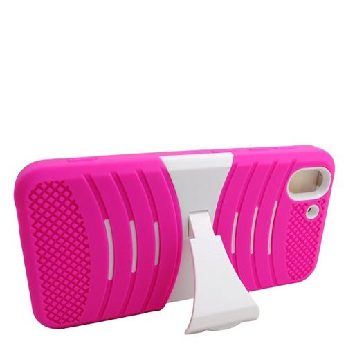 Insten Wave Hybrid Stand Rubber Silicone/PC Case For HTC Desire Eye, Pink/White