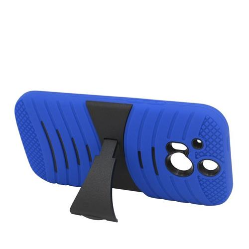 Insten Wave Hybrid Stand Rubber Silicone/PC Case For HTC One M8, Blue/Black