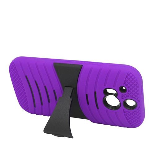 Insten Wave Hybrid Stand Rubber Silicone/PC Case For HTC One M8, Purple/Black