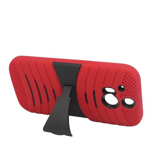 Insten Wave Hybrid Stand Rubber Silicone/PC Case For HTC One M8, Red/Black