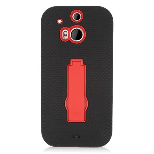 Insten Hybrid Stand Rubber Silicone/PC Case For HTC One M8, Black/Red
