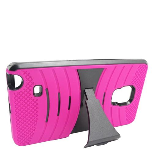 Insten Wave Hybrid Stand Rubber Silicone/PC Case For Samsung Galaxy Note Edge, Hot Pink/Black