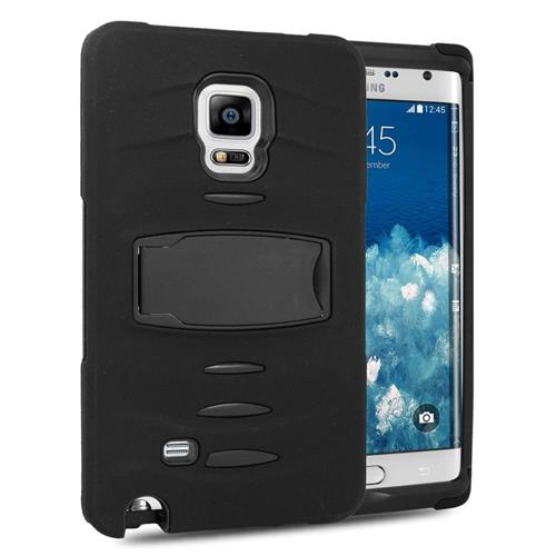 Insten Hybrid Stand Rubber Silicone/PC Case w/Screen Protector For Samsung Galaxy Note Edge, Black