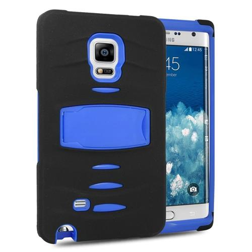 Insten Hybrid Stand Silicone/PC Case w/Screen Protector For Samsung Galaxy Note Edge, Black/Blue