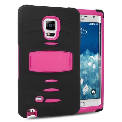 Insten Hybrid Stand Silicone/PC Case w/Screen Protector For Samsung Galaxy Note Edge, Black/Hot Pink