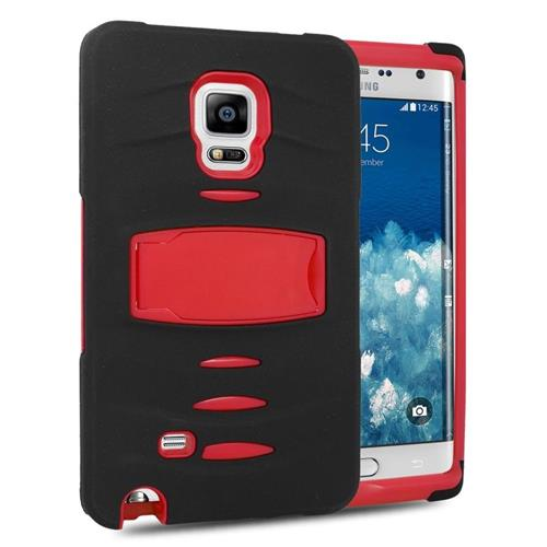 Insten Hybrid Stand Silicone/PC Case w/Screen Protector For Samsung Galaxy Note Edge, Black/Red