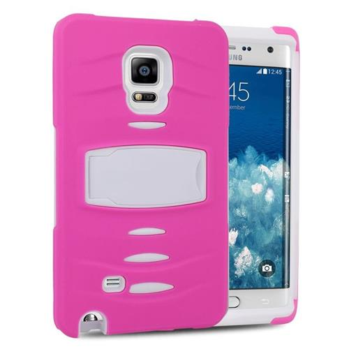 Insten Hybrid Stand Silicone/PC Case w/Screen Protector For Samsung Galaxy Note Edge, Hot Pink/White