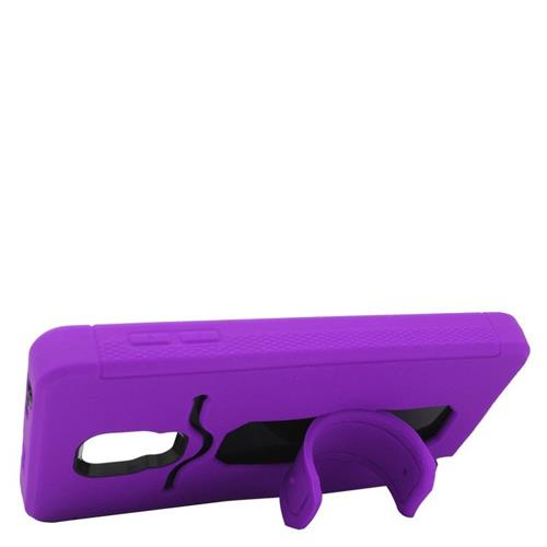 Insten Hybrid Stand Rubber Silicone/PC ID/Card Slot Case For Samsung Galaxy Note Edge, Purple/Black