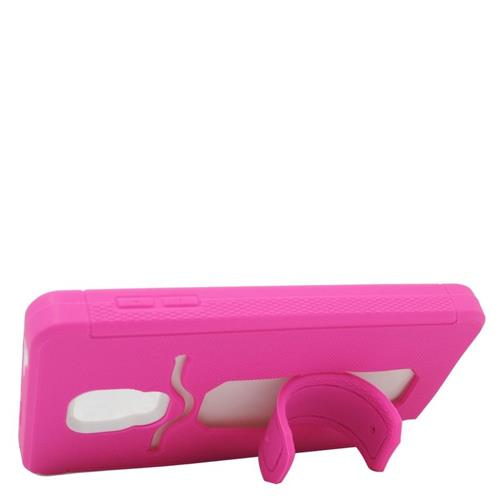 Insten Hybrid Stand Silicone/PC ID/Card Slot Case For Samsung Galaxy Note Edge, Hot Pink/White
