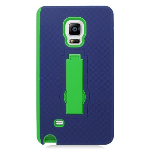 Insten Hybrid Stand Rubber Silicone/PC Case For Samsung Galaxy Note Edge, Blue/Green