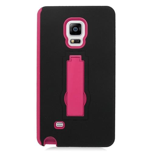 Insten Hybrid Stand Rubber Silicone/PC Case For Samsung Galaxy Note Edge, Black/Hot Pink