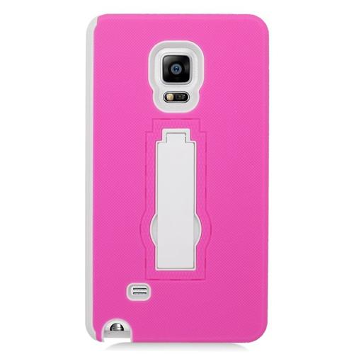 Insten Hybrid Stand Rubber Silicone/PC Case For Samsung Galaxy Note Edge, Hot Pink/White
