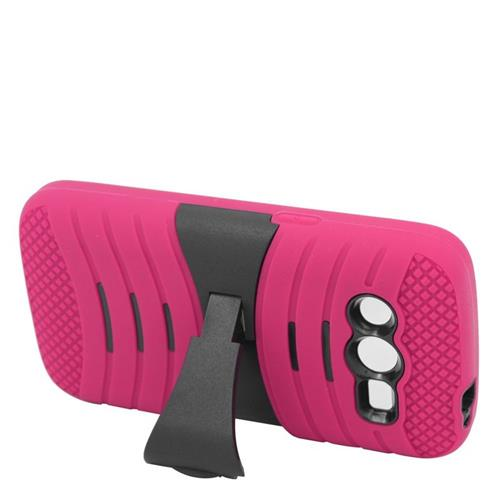 Insten Wave Hybrid Stand Rubber Silicone/PC Case For Samsung Galaxy Avant, Hot Pink/Black