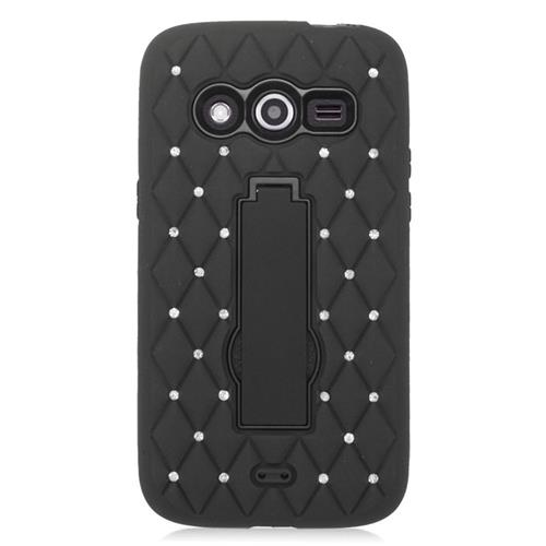 Insten Hybrid Stand Rubber Silicone/PC Case With Diamond Compatible Samsung Galaxy Avant, Black